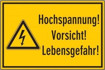 """Aufkleber """"Hochspannung!"""